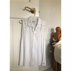 abercrombie sleeveless lace button-up shirt